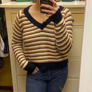 Madewell striped vneck sweater